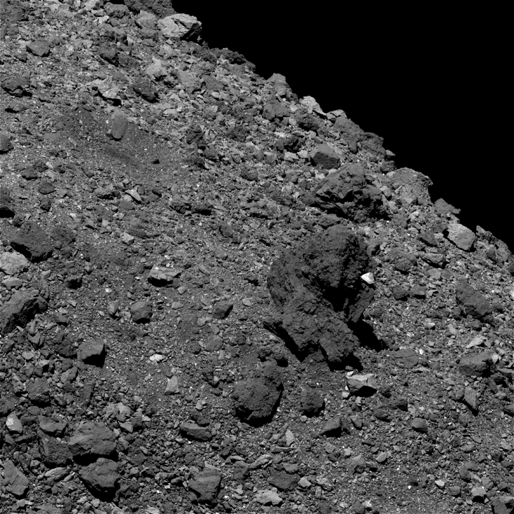 Bennu Asteroid: Large pyramidal object - Click for original image at 1:1 scale