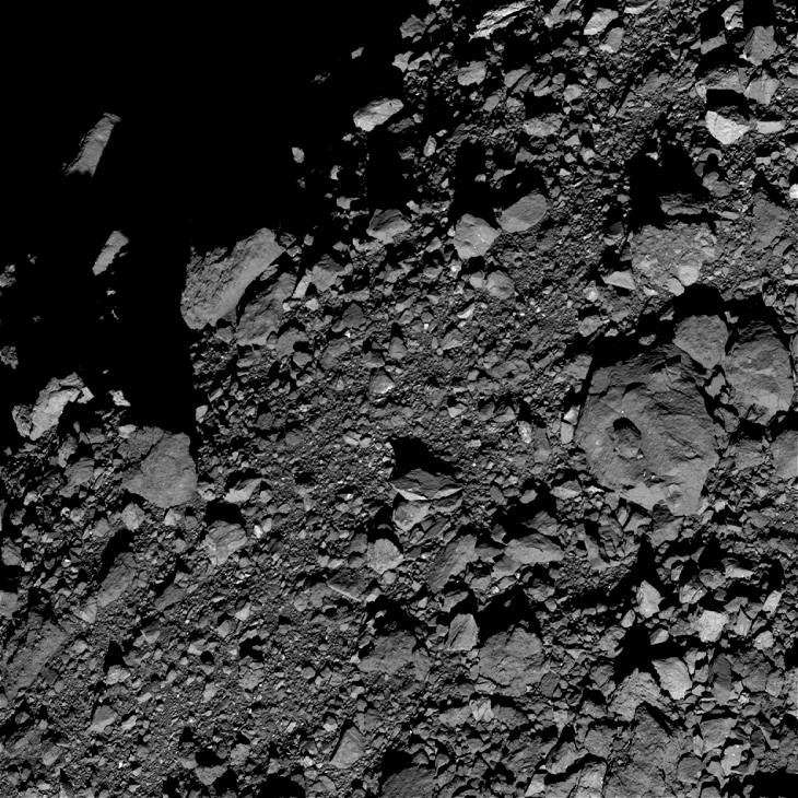 Bennu Asteroid: Large object with small feature on its center - Click for original image at 1:1 scale