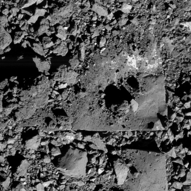 Megalithic blocks or monoliths on Bennu (click to view larger image)