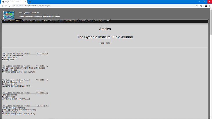 The Cydonia Institute Raptor Zone Journal Listing (click for larger image)