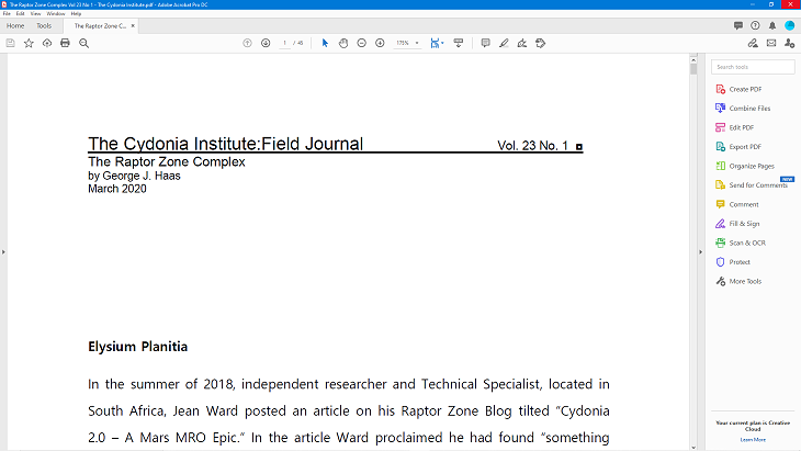 The Cydonia Institute Raptor Zone Journal - 1st page screen shot (click for larger image)