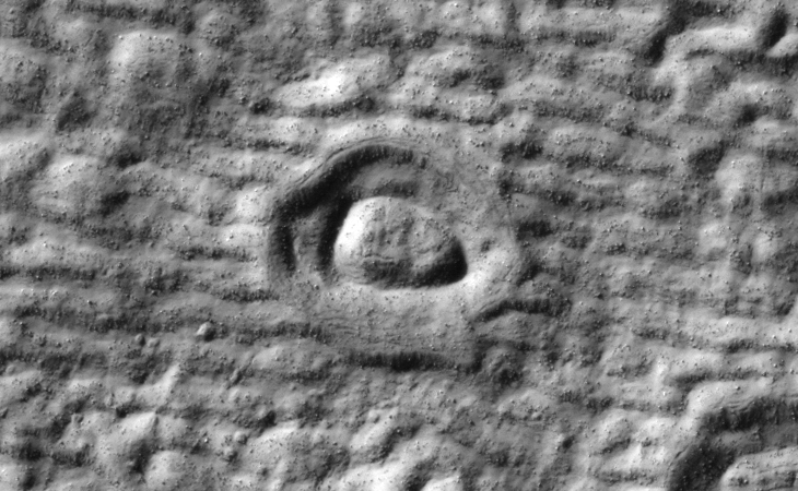 Bright Blue Object Captured on Mars: Oval crater anomaly