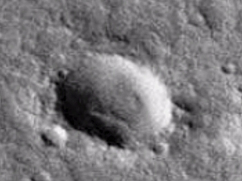 Cigar-shape object inside Martian crater