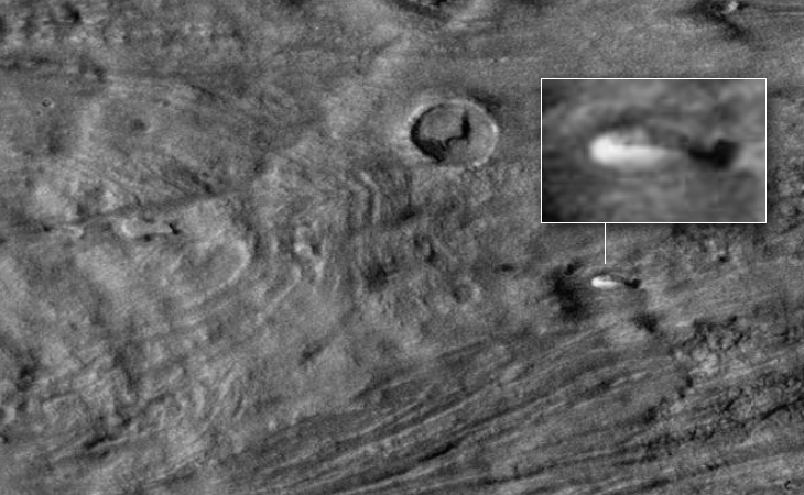 Disc-like craft on Martian surface