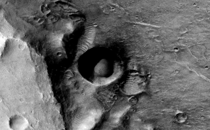 Massive dome or sphere inside Martian Crater