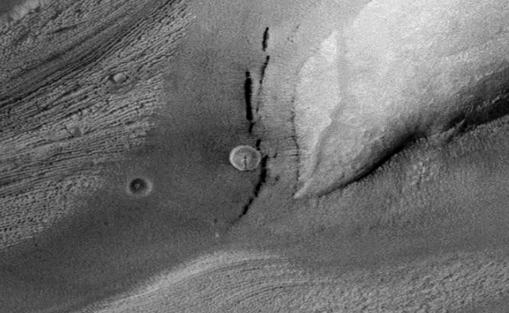 Semi-translucent disc on Mars