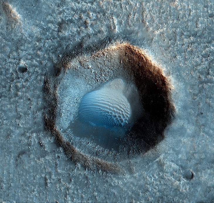 Massive dome in crater on Mars