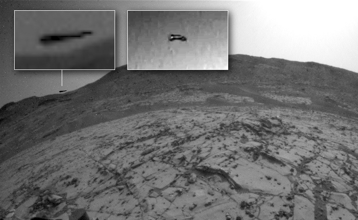 Black triangular object photographed on Mars horizon