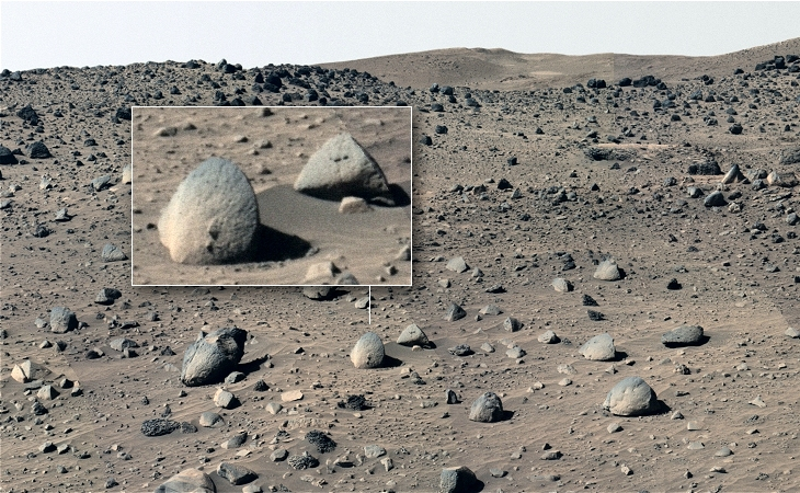Rover Spirit also photographed a large stone disc in Home Plate (click for larger image)
