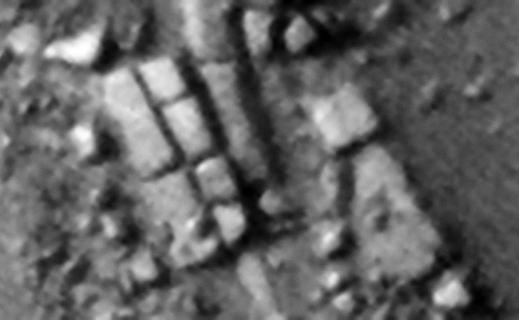 Rows of rectangular megalithic blocks, note the geometry in the four smaller blocks next to the two larger blocks