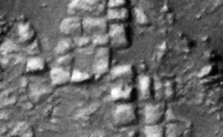 Rows of megalithic blocks or slabs