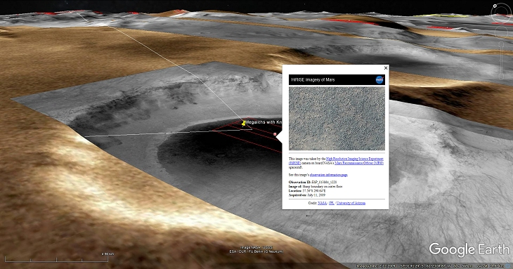 Google Earth Mars Elevated View with NASA Description