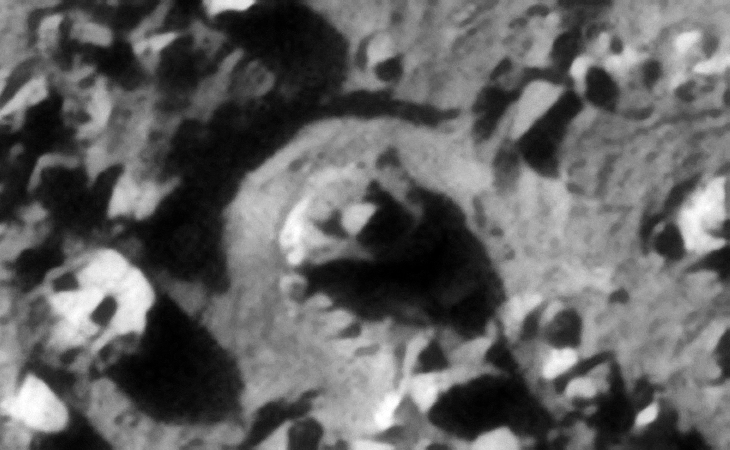 Megalithic blocks with three smaller features or knobs on top strategically located in the center of a circular opening, another small winglet can be seen to the lower left of the image as well as a object with two small rectangular features on top