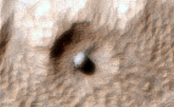 Reull Vallis on Mars: Large spherical object - Click for original image at 1:1 scale