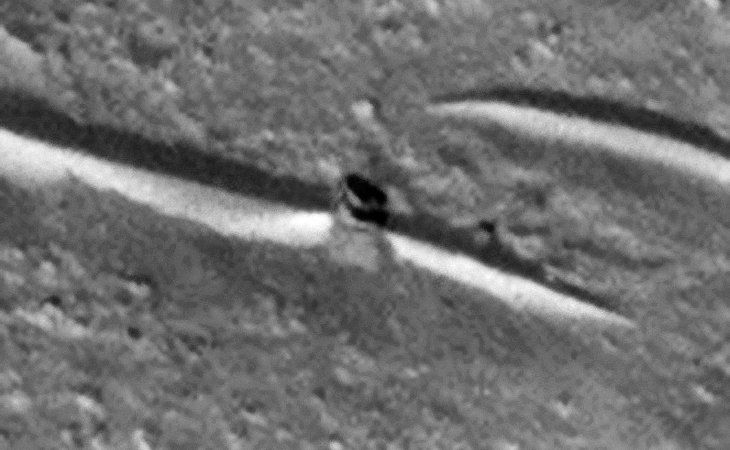 Disc-like objects against crater wall