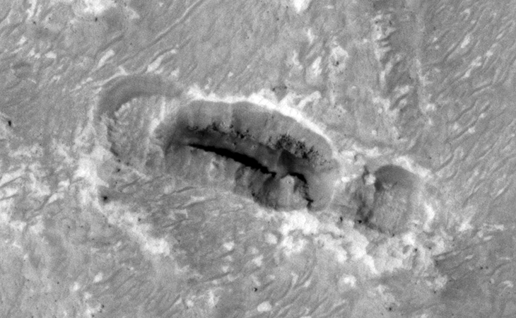 Giant Standing Megalith found on Mars? - Cave