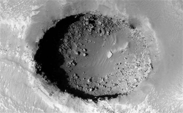 Giant Standing Megalith found on Mars? - Crater