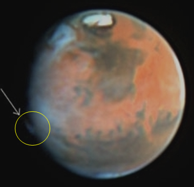 Hubble spies mystery plume on Mars, source: esa