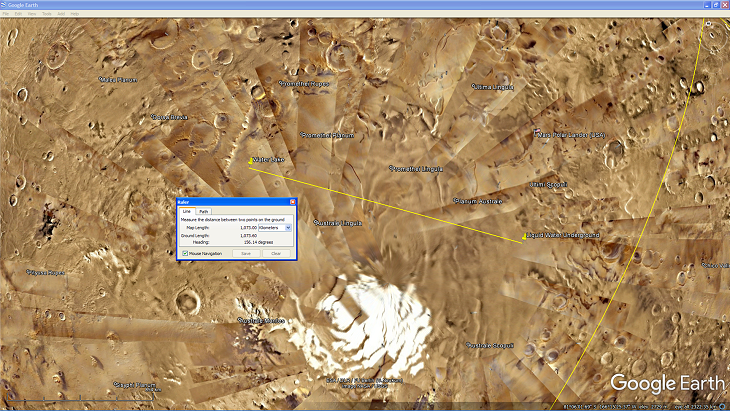 An area showing a lake on the Martian surface about 1000 km to the west of the underground liquid water lake