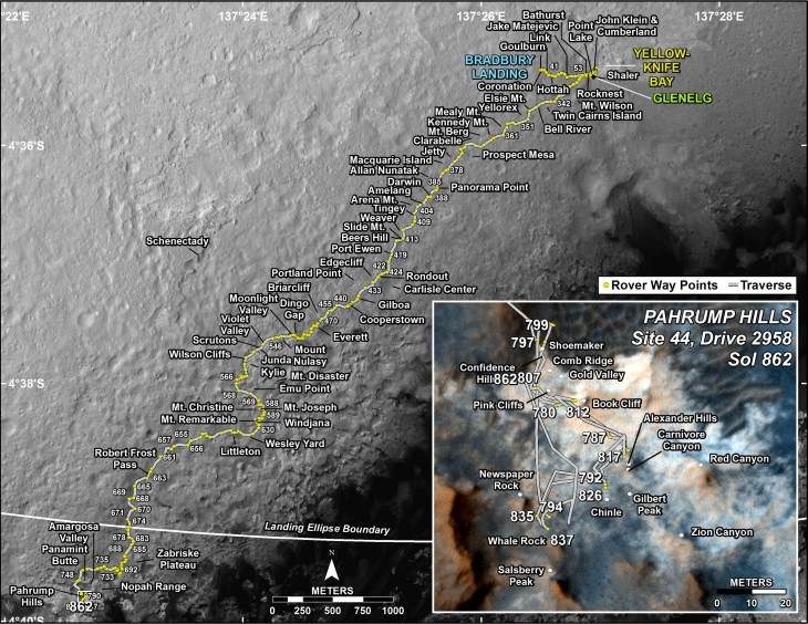 Curiosity's location in Sol 710 (click for larger image)