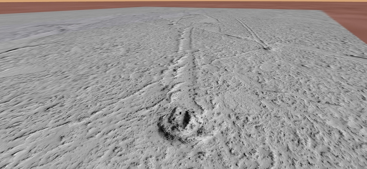 A closer look at a path left by Horseshoe crab on Mars