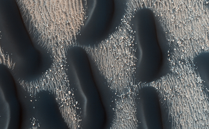 Proctor Dune Field on Mars from the colour portion of this HiRISE photograph (click for larger image)