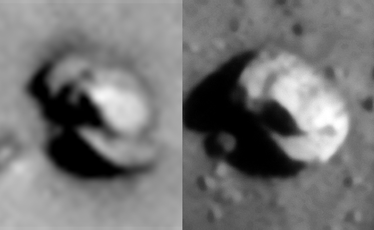 The two objects side-by-side. Left: ESP_014166_1820, right: PSP_007740_2250