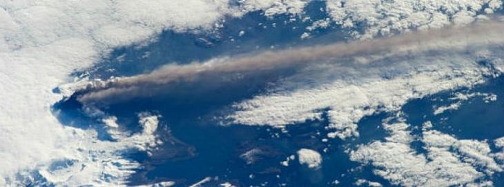 Pavlof Volcano in the Aleutian Arc photographed by NASA. The volcano began erupting 13 May 2013, Source: NASA