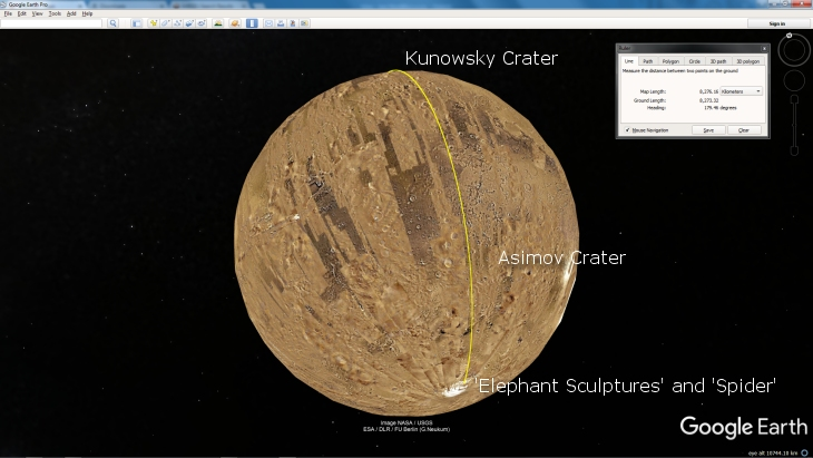 Google Earth Mars showing line from 'Elephant Head Sculptures' passing Asimov Crater