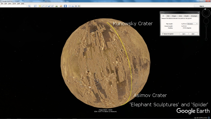 Google Earth Mars showing line extending past Asimov Crater ending at Kunowsky Crater
