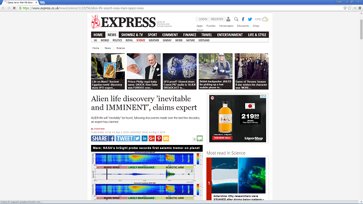 Discovery of life on Mars 'Inevitable and IMMINENT' - Source: express.co.uk