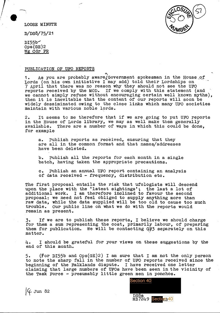 MOD Declassified Falklands War File - Source: ovnisencorrientes.blogspot.com