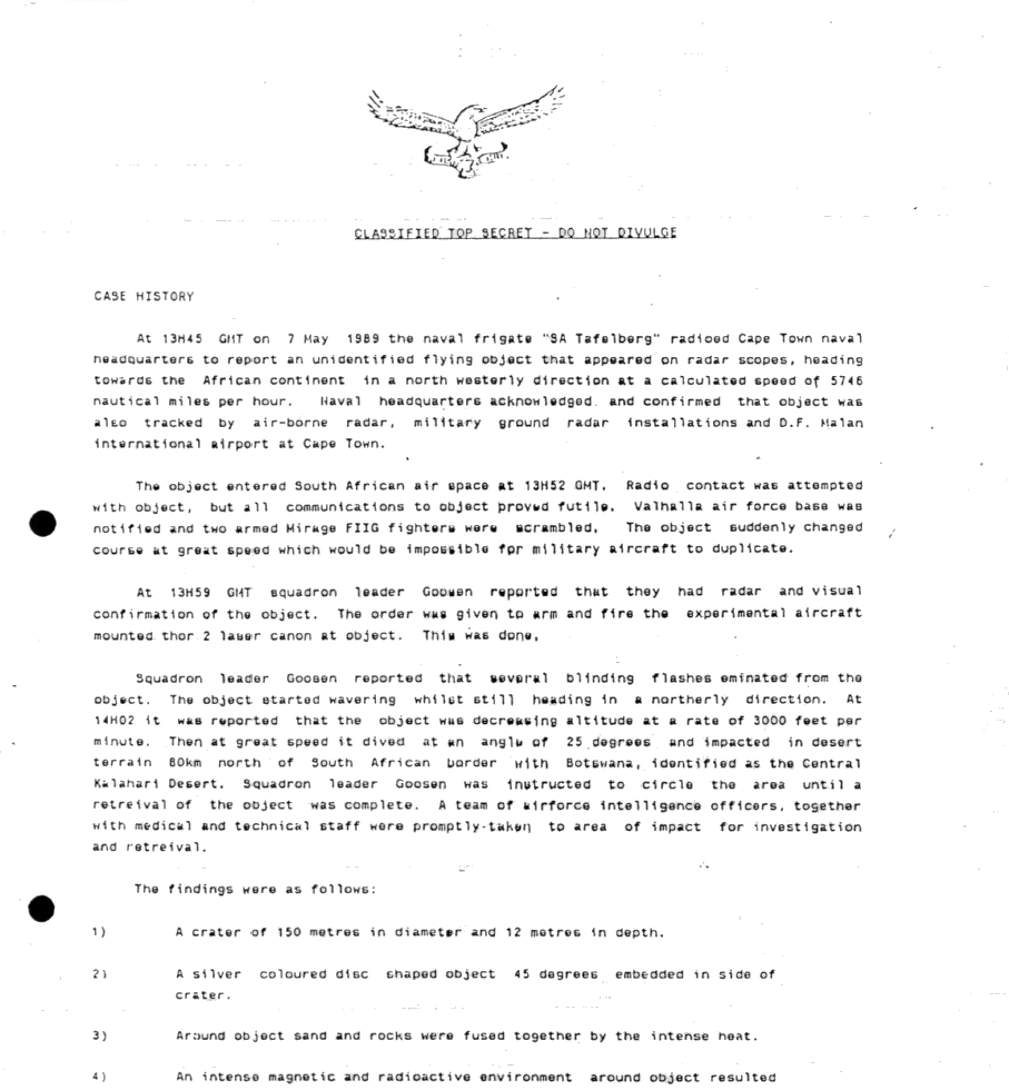 Case History from the SAAF Intelligence Report