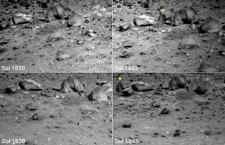 Spirit rover captures moving object on Mars