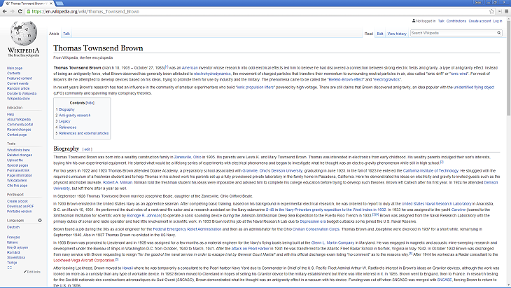 Thomas Townsend Brown Wikipedia screenshot - Source: wikipedia.org